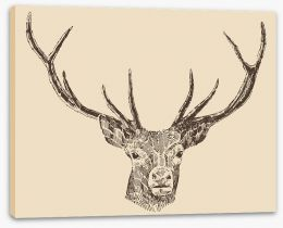 Vintage deer head Stretched Canvas 66129360