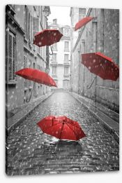 Red umbrellas Stretched Canvas 66343093