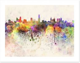 Melbourne skyline watercolour