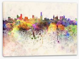 Melbourne skyline watercolour Stretched Canvas 66858868