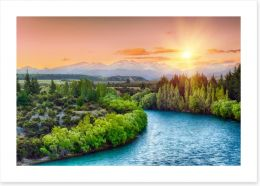 Last rays over the Clutha river Art Print 67389110