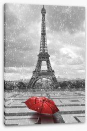 Red umbrella in the Parisian rain Stretched Canvas 68974359