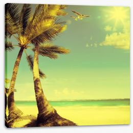 Vintage style tropical beach Stretched Canvas 70302821