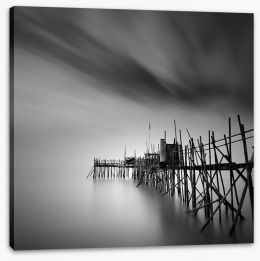 Old pier silhouette Stretched Canvas 70838778