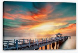 Dramatic pier sunset Stretched Canvas 71800374