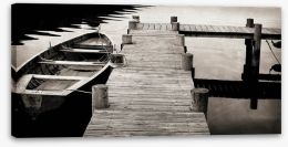 Rowing boat jetty Stretched Canvas 72057416