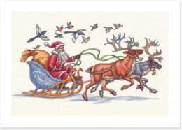 Racing Santa Art Print 74121173