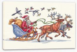 Racing Santa Stretched Canvas 74121173