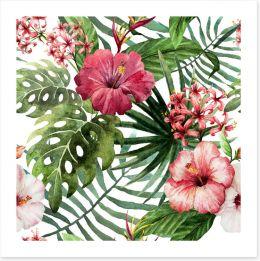 Pink hibiscus leaves