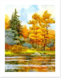 Autumn by the lake Art Print 74832348