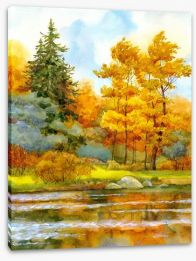 Autumn by the lake Stretched Canvas 74832348