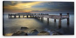 Daybreak at the old pier Stretched Canvas 75214812