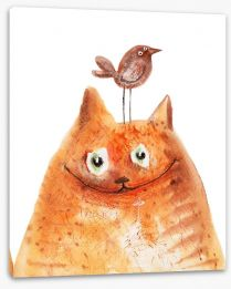 Cat and bird Stretched Canvas 75382959