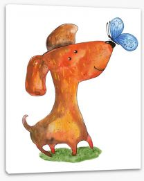 Puppy with blue butterfly Stretched Canvas 75383846