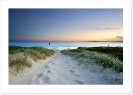 Sandy beach trail at sundown Art Print 75746716