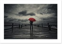 Red umbrella in the storm