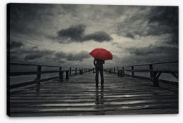 Red umbrella in the storm Stretched Canvas 76339850