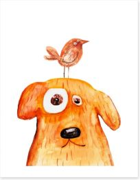 Dog and bird