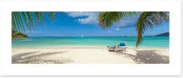 Palm frond beach panoramic Art Print 76950284