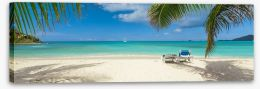 Palm frond beach panoramic Stretched Canvas 76950284