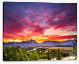 Sunset over Snake River Stretched Canvas 77233931