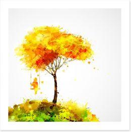 Autumn tree swing