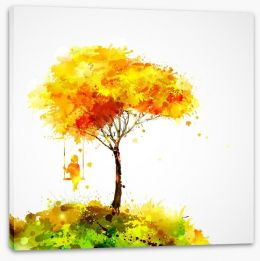 Autumn tree swing Stretched Canvas 77406345