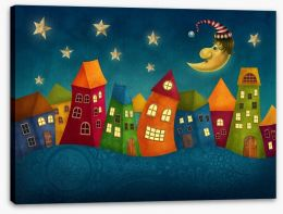 Night in the colourful town Stretched Canvas 77935444