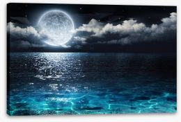 Moonshine seascape Stretched Canvas 78125119
