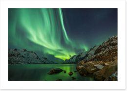 Aurora Borealis over the fjord Art Print 78161122