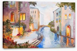 Evening on the Venice canal Stretched Canvas 79670018