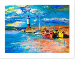 Lighthouse and boats Art Print 80061654