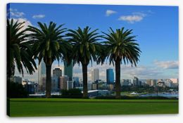 Perth behind the palm trees Stretched Canvas 8040404
