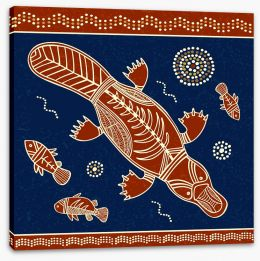 Platypus and fish Stretched Canvas 81477212
