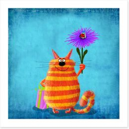 Striped cat with flower Art Print 82093169