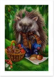 Hedgehog picnic Art Print 85591566