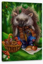 Hedgehog picnic Stretched Canvas 85591566