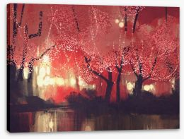 Fairy lights in the Autumn forest Stretched Canvas 86279537