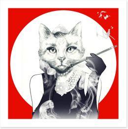 Feline of the night Art Print 87593505