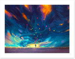 Balloons in the storm Art Print 90768625