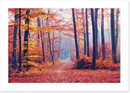 Autumn forest mist Art Print 90869736