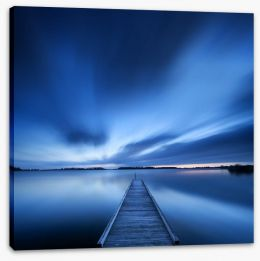 Blue dawn jetty Stretched Canvas 90903081