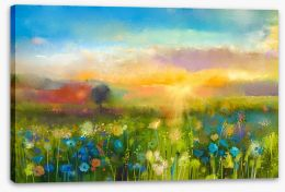 Wildflower meadow at sunset Stretched Canvas 90987549