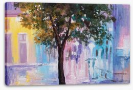 Walking in the rain Stretched Canvas 91556813