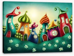 The fairy village Stretched Canvas 91826591