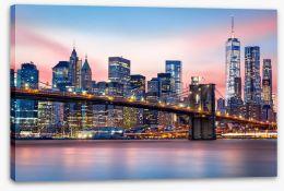 Lower Manhattan sunset Stretched Canvas 98928129
