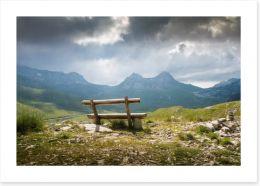 Bench on the peak Art Print 99305948