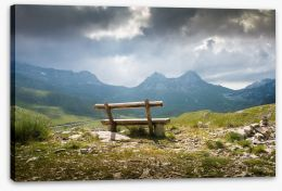 Bench on the peak Stretched Canvas 99305948