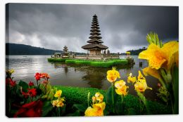 Bali temple and flowers Stretched Canvas CS0004