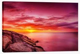 Carrum beach sunset Stretched Canvas FB0013